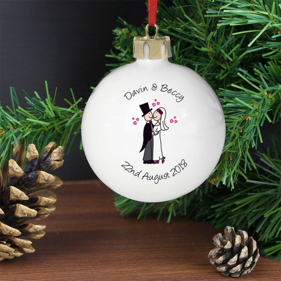 Personalised Cartoon Married Couple Bauble - Lifestyle