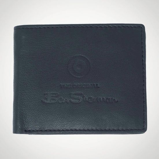 Ben Sherman Dack Leather RFID Coin Wallet Black - grey background