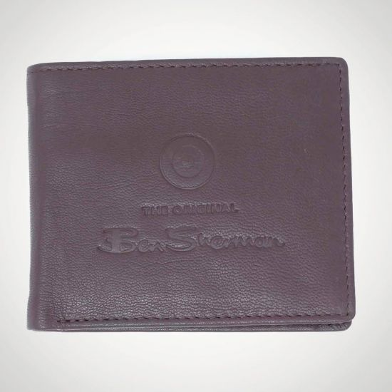 76483Ben Sherman Dack Leather RFID Coin Wallet Brown - grey background