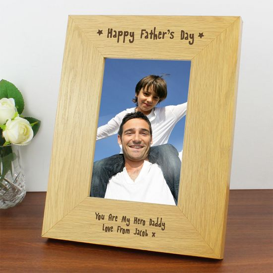 Personalised Happy Father's Day Wooden Frame 4x6 - Lifestyle