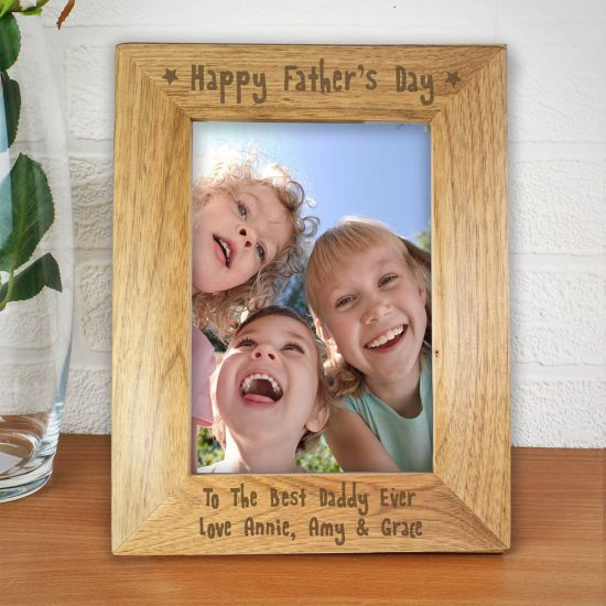 Personalised Happy Father's Day Wooden Frame 5x7 - LIFESTYLE
