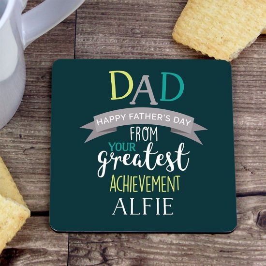 Personalised Dad's Greatest Achievement Coaster - Lifestyle