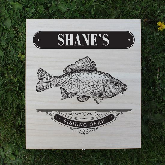 Personalised Fishing Gear Wooden Box - lifestyle