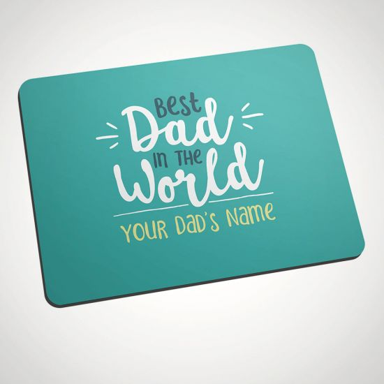 Personalised Best Dad in the World Mouse Mat - Grey Background