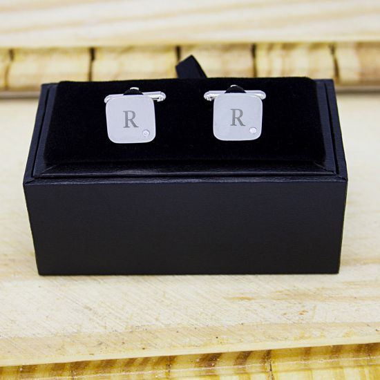 Men's Square Silver Finish Cufflink With Diamond - Lifestyle
