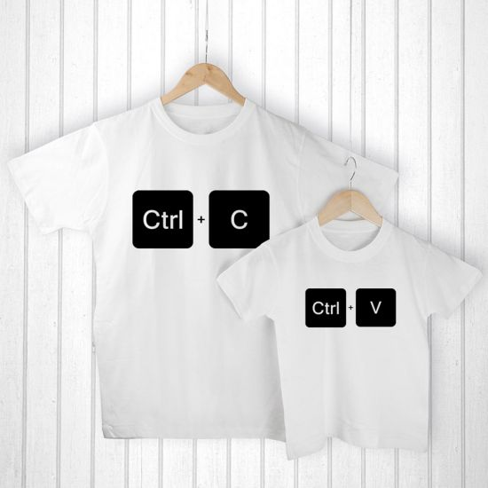 Personalised Daddy and Me Copy Paste T-Shirt Set - Lifestyle
