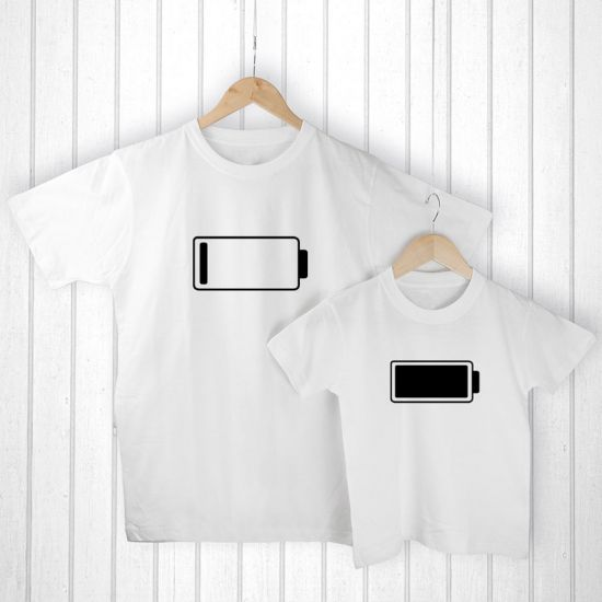 Personalised Daddy and Me Low Battery T-Shirt Set - lifestyle