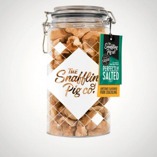 Snaffling Pig Perfectly Salted Pork Crackling Gift Jar 275g - Grey Background