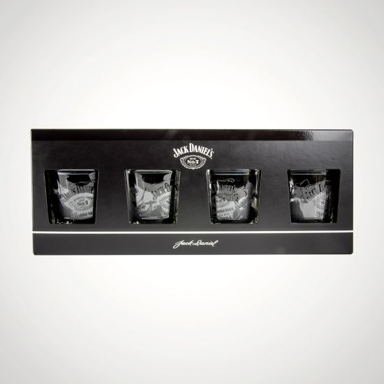 Jack Daniels 4 Tumbler Set - grey background
