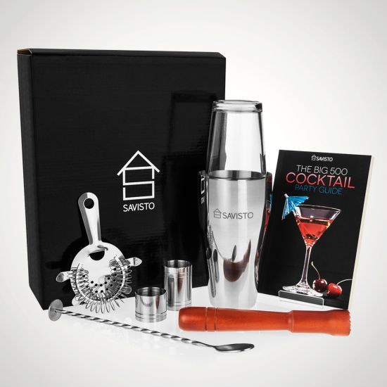Savisto Boston Cocktail Shaker Kit with Recipe Book - grey background