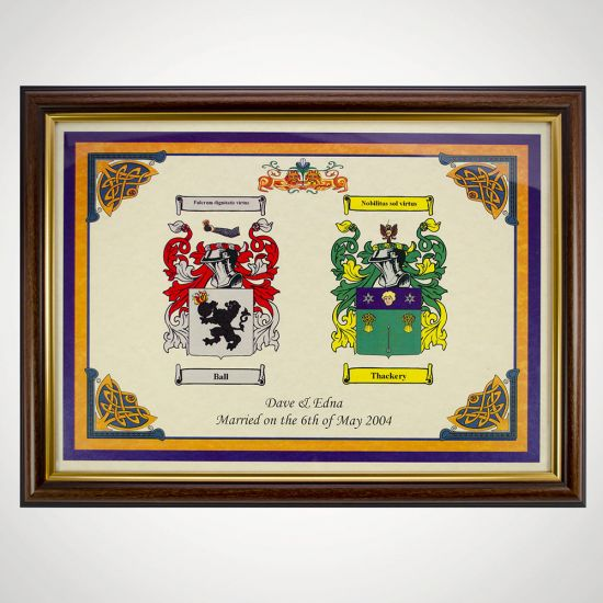 Personalised Double Coat of Arms Family Print - Grey Background
