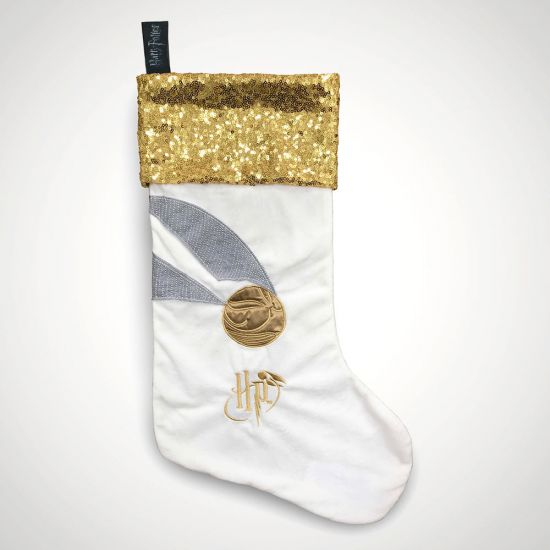 Golden Snitch Sparkly Christmas Stocking - grey background