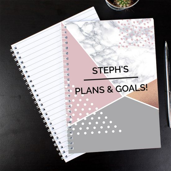 Personalised Geometric A5 Notebook - Lifestyle