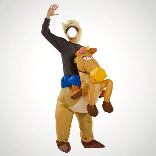 Inflatable Cowboy Costume - grey background