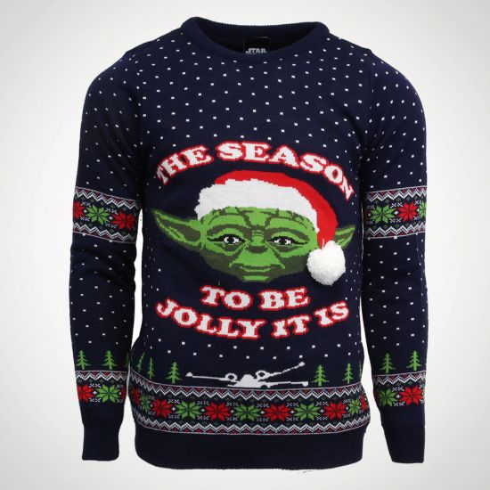 Star Wars Yoda Christmas Jumper - grey background