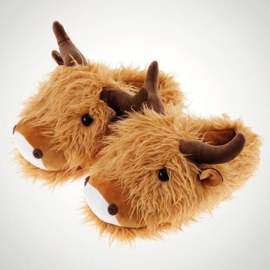 Fuzzy Friends Highland Cow Slippers - GREY BACKGROUND