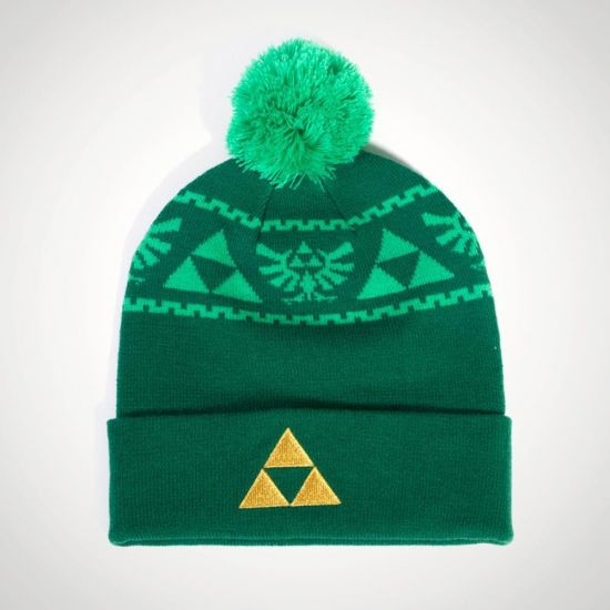 Zelda Knitted Beanie with Emboridery - Grey Background