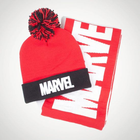 Beanie and Scarf Giftset Marvel - grey background