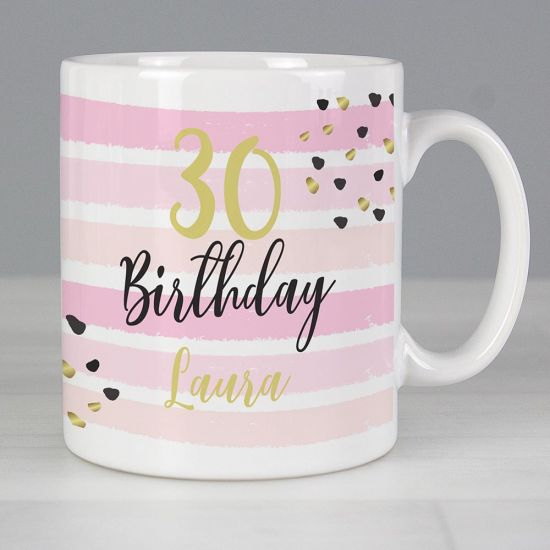 Personalised Birthday Gold and Pink Stripe Mug - Lifestyle