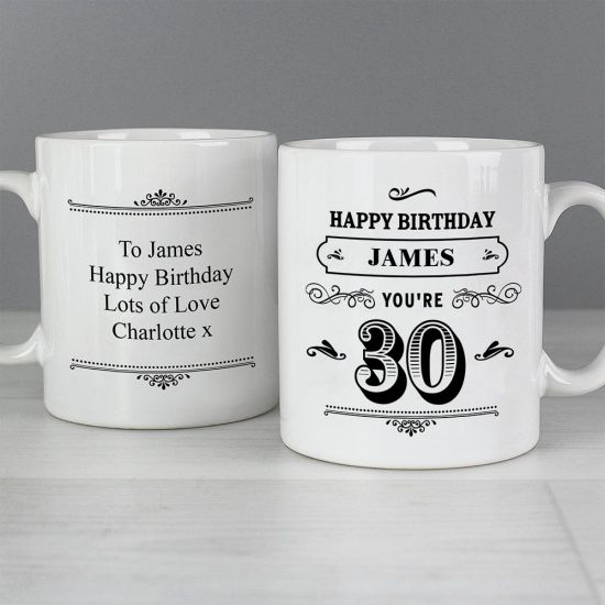 Personalised Birthday Vintage Typography Mug - grey background