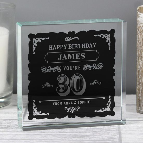 Personalised Birthday Vintage Typography Large Crystal Token - lifestyle