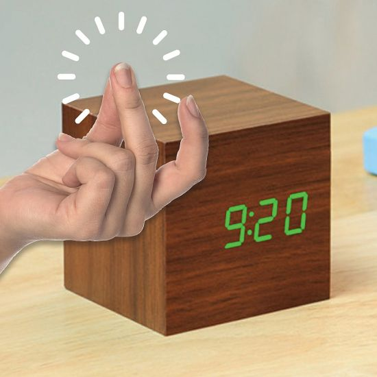 Cube Click Clock Walnut Green LED - Grey Background