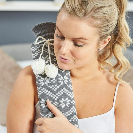 Extra Long Hot Water Bottle Grey Nordic - lifestyle