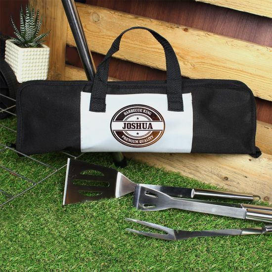 Personalised BBQ Tools Set Round - Lifestyle