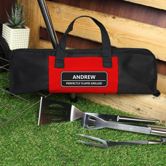 Personalised BBQ Tools Set Rectangle - Lifestyle