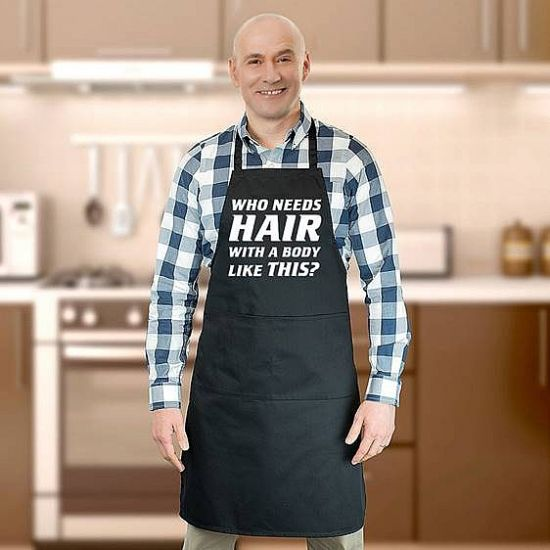 Who Needs Hair? Black Apron - Grey Background