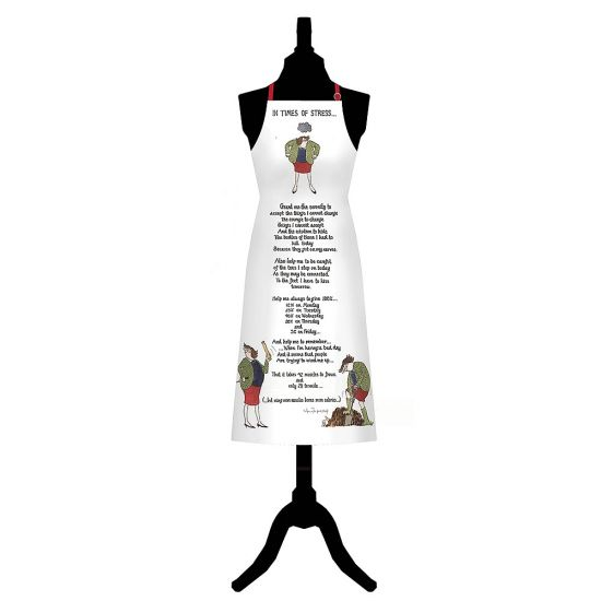 In Times of Stress Cotton Apron - Grey Background