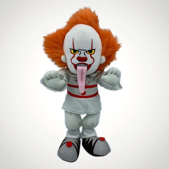 """IT Pennywise 8"""" Plush Toy-Pennywise with Dog Tongue - Grey Background"""