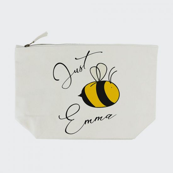Personalised Bee You Cream Wash Bag - Grey Background