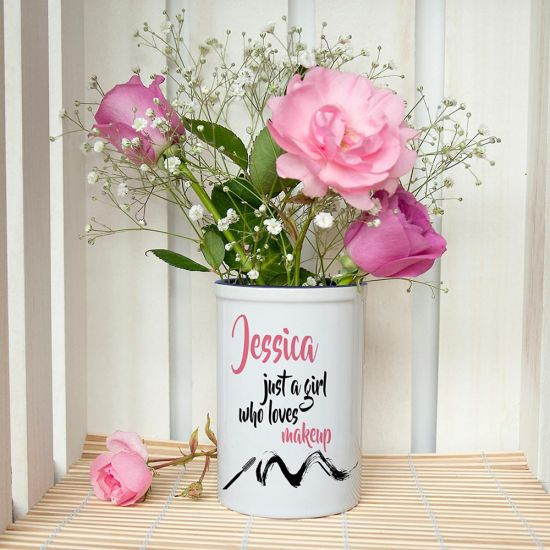 Just A Girl Who Loves Makeup Personalised Make Up Brush Holder -lifestyle