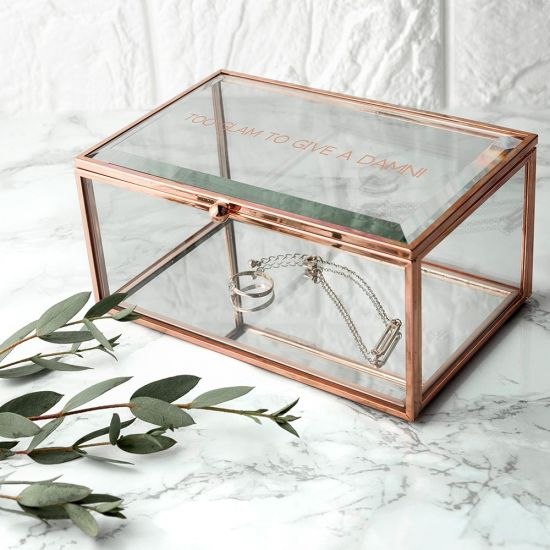 Personalised Rose Gold Glass Jewellery Box - Lifestyle