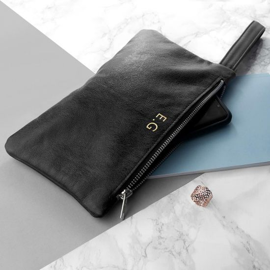 Personalised Clutch Handbag in Black Leather  - Lifestyle