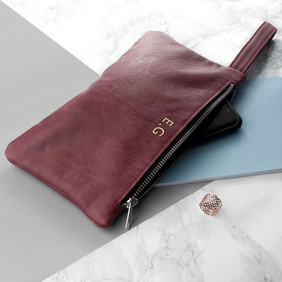 Personalised Burgundy Leather Clutch Bag - Lifestyle