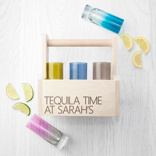 Personalised 6-Compartment Coloured Shot Glass Trug - Lifestyle