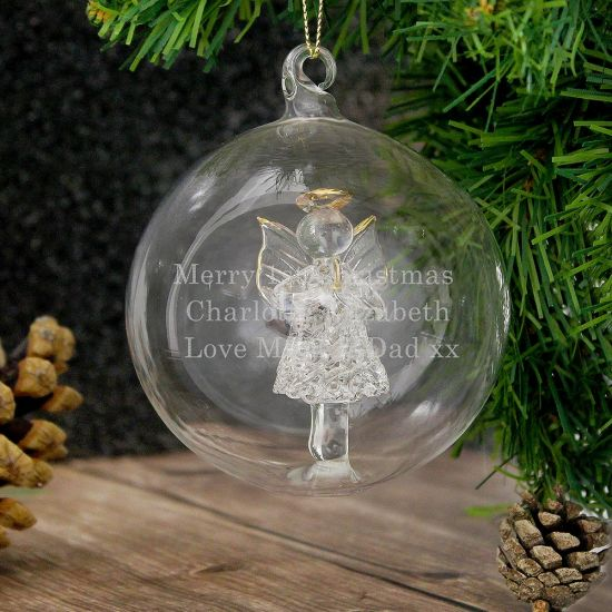 Personalised Glass Christmas Angel Bauble - Lifestyle