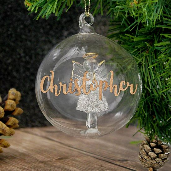 Personalised Glass Angel Bauble - Lifestyle