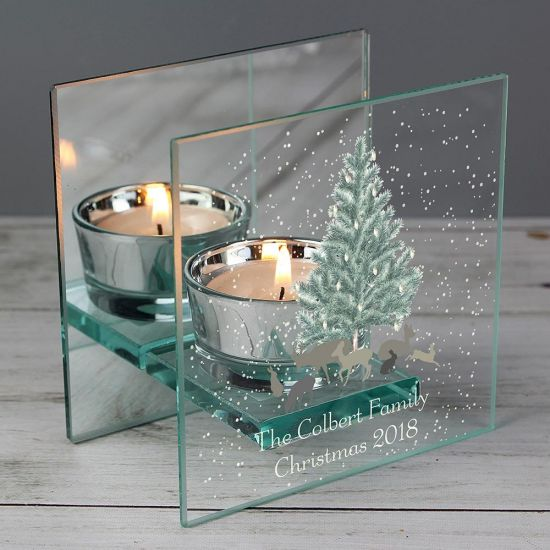 Personalised A Winter's Night Mirrored Glass Tea Light Holder - Lifestyle