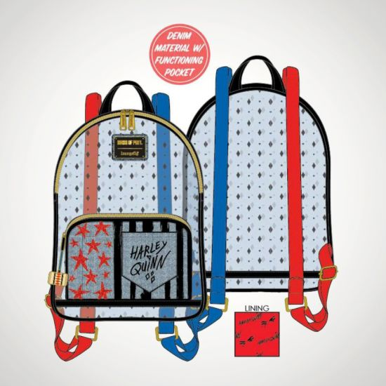 Birds of Prey Harley Quinn Mini Loungefly Backpack - Grey Background