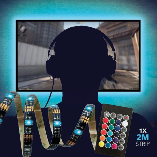 2m RGB Light with Remote Control - Grey Background