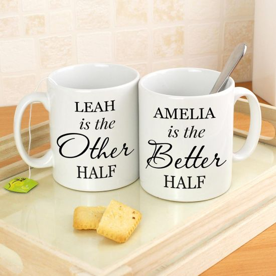 Personalised Other Half and Better Half Mug Set - lifestyle