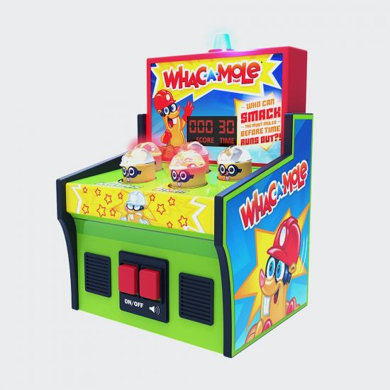 Whac-A-Mole Electronic Game on grey background