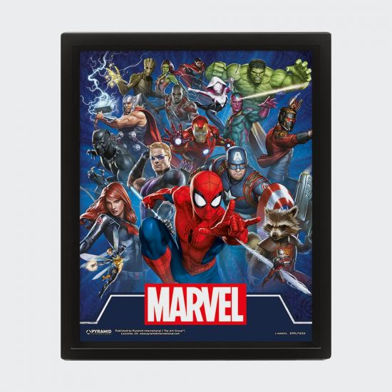 Marvel Cinematic Icons 3D Lenticular Poster - Grey Background