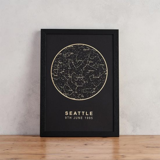 Personalised Star Map - Black with Gold Foil - lifestyle