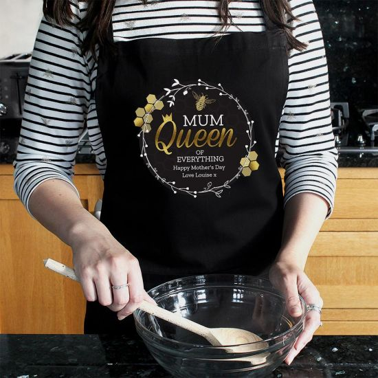 Personalised Queen Bee Black Apron - Grey Background