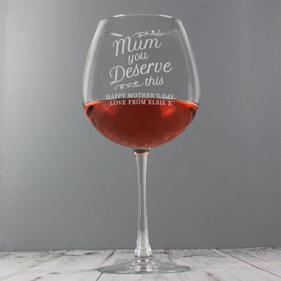Personalised 'Mum You Deserve This' Gin Balloon Glass - Grey Background
