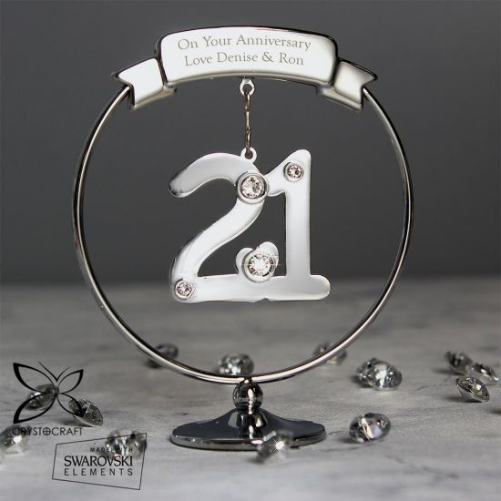 Personalised Crystocraft 21st Celebration Ornament - Grey Background